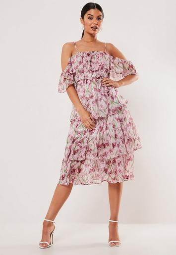 Pink Floral Cami Tiered Midi Dress by Missguided