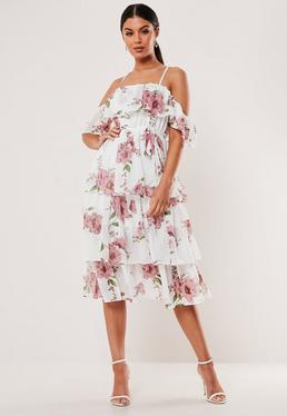 4454159269 Pink Floral Cami Tiered Midi Dress; White Floral Cami Tiered Midi Dress
