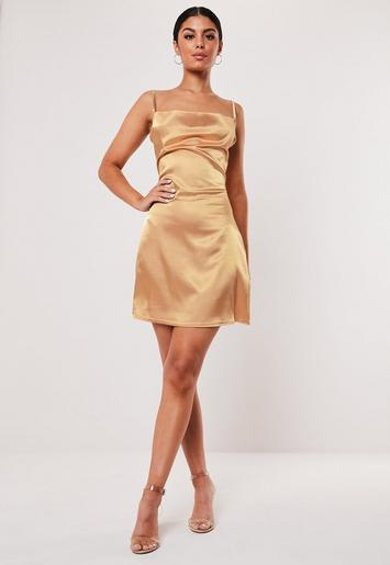 Cream Satin Strappy Cowl Neck Shift Dress by Missguided