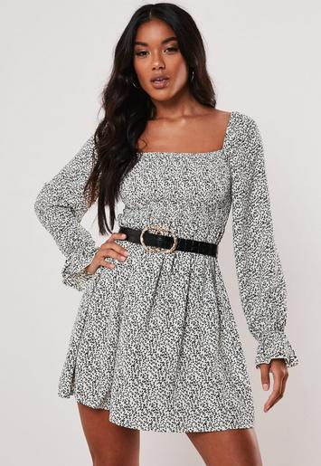 White Ditsy Print Shirred Skater Dress by Missguided