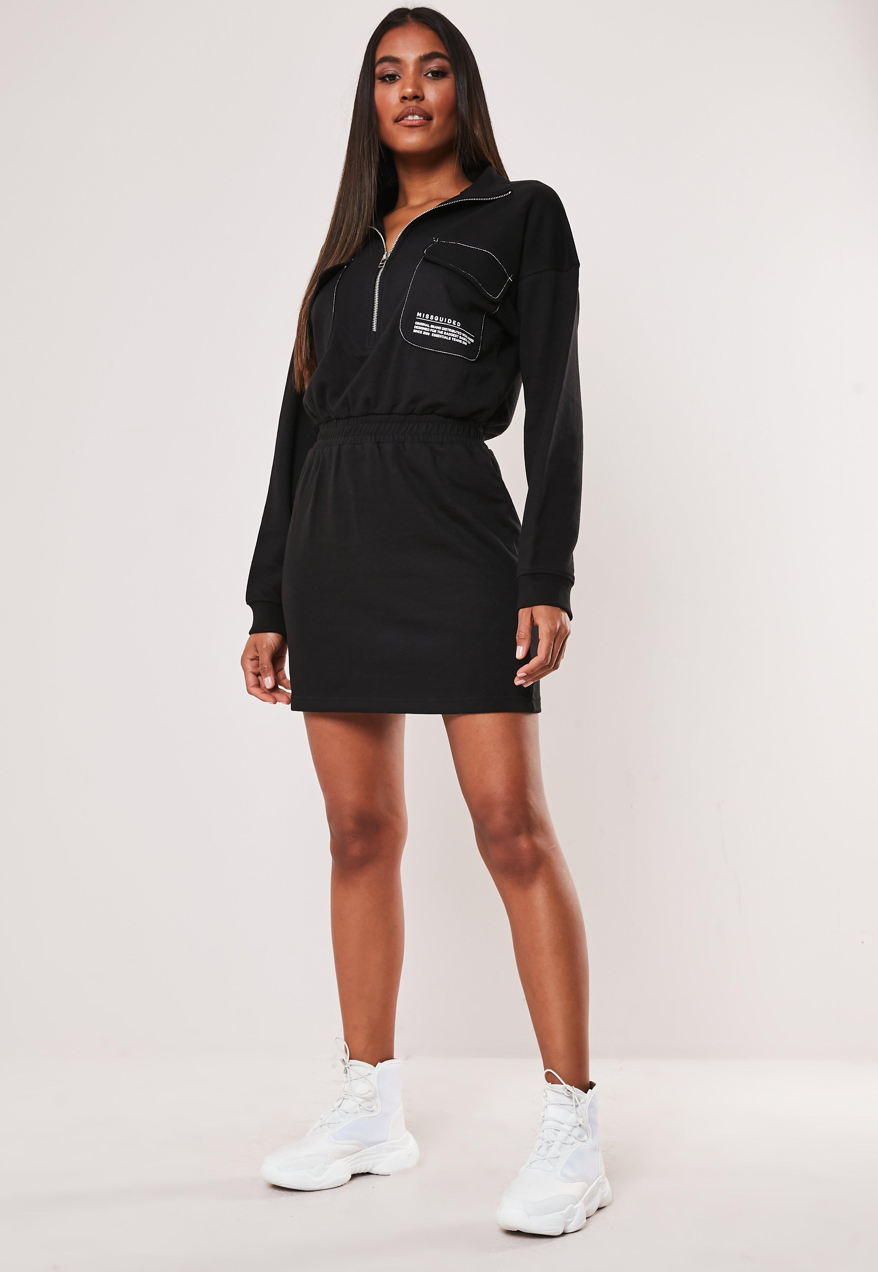 Black Zip Through High Neck Slogan Dress by Missguided