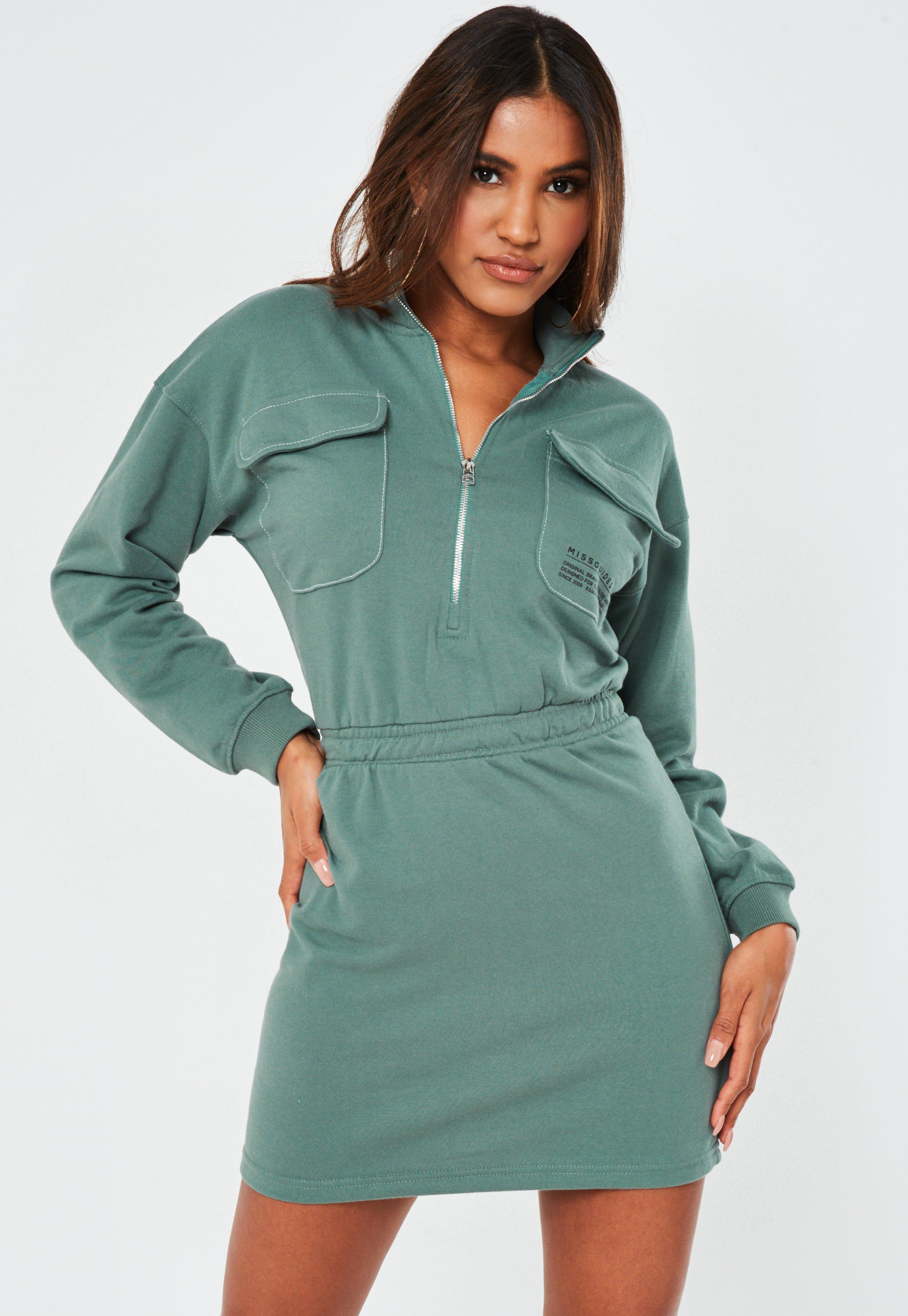 Teal Zip Through High Neck Slogan Dress by Missguided