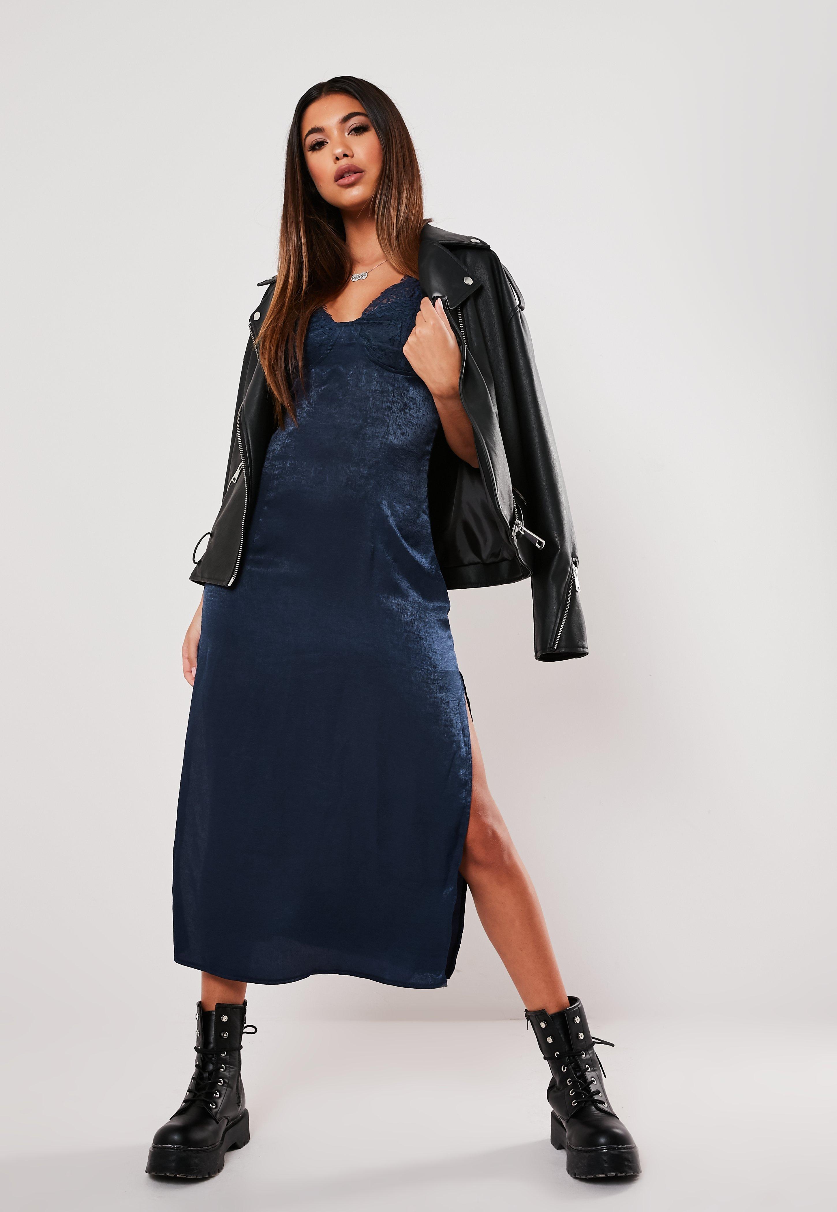 Navy Satin Lace Slip Midi Dress