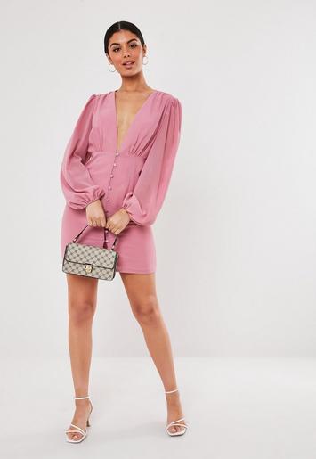 Pink Chiffon Milkmaid Button Down Mini Dress Missguided