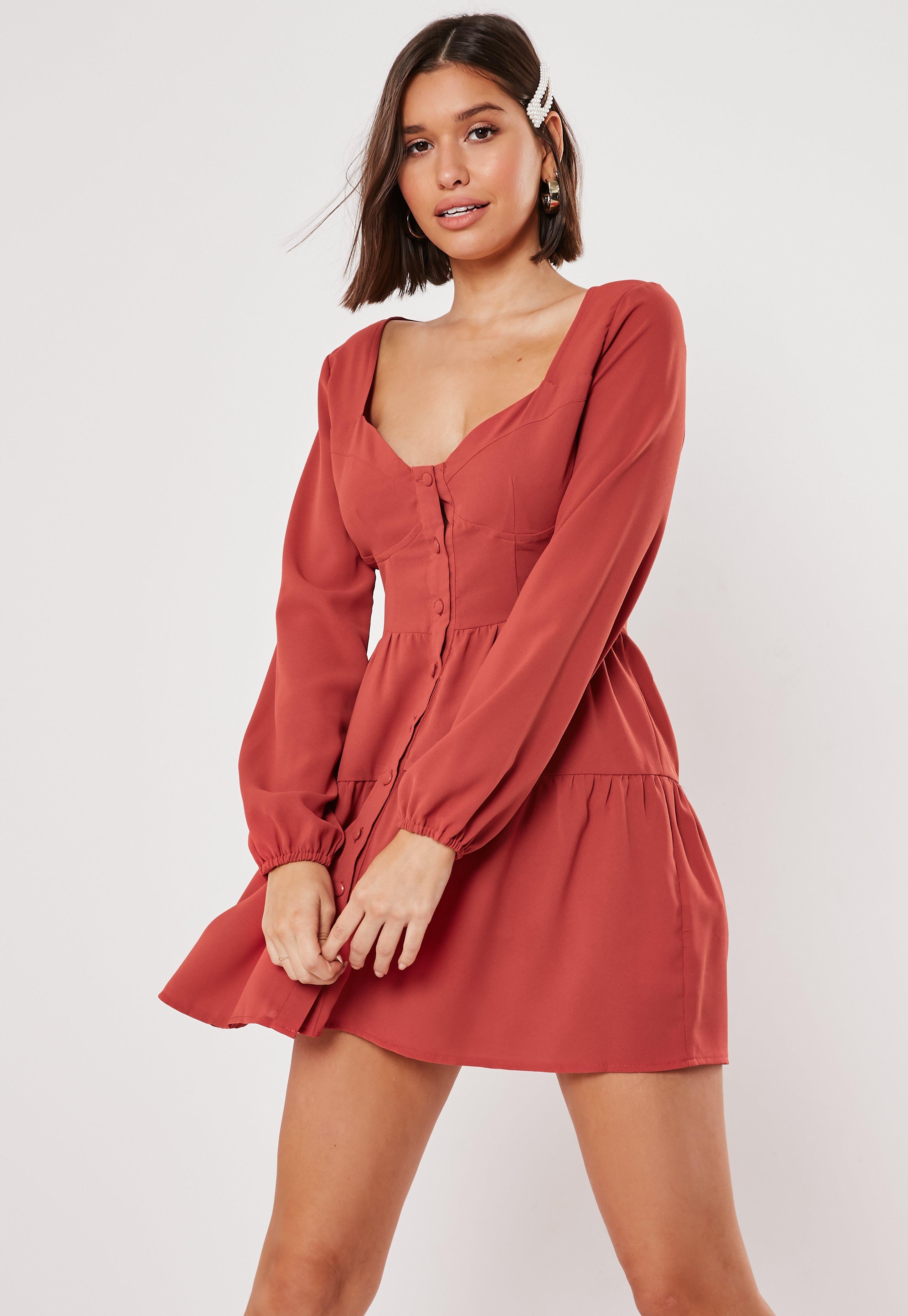 Rust Button Down Tiered Mini Dress
