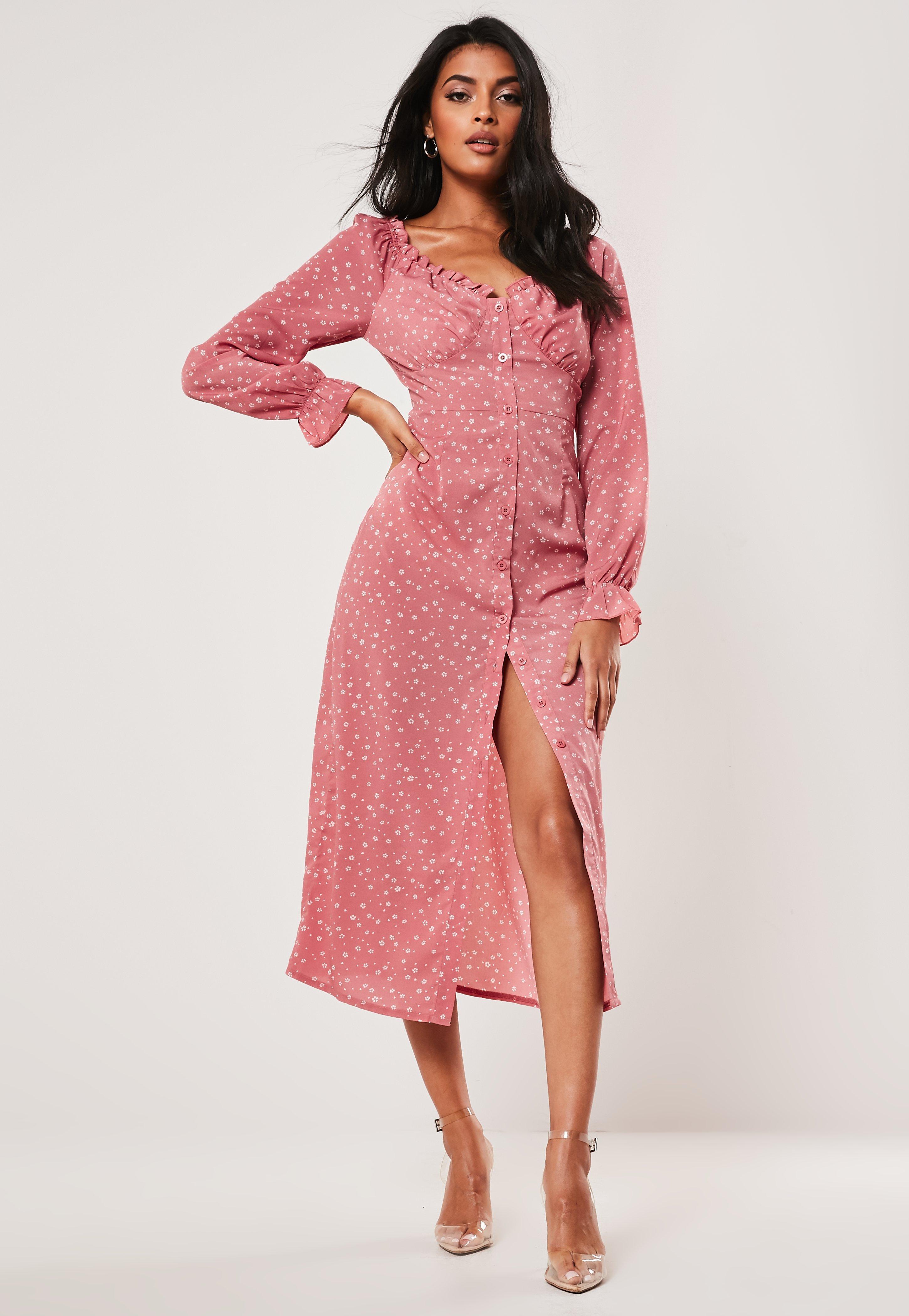 99683bead72 Pink Ditsy Floral Print Milkmaid Midi Dress