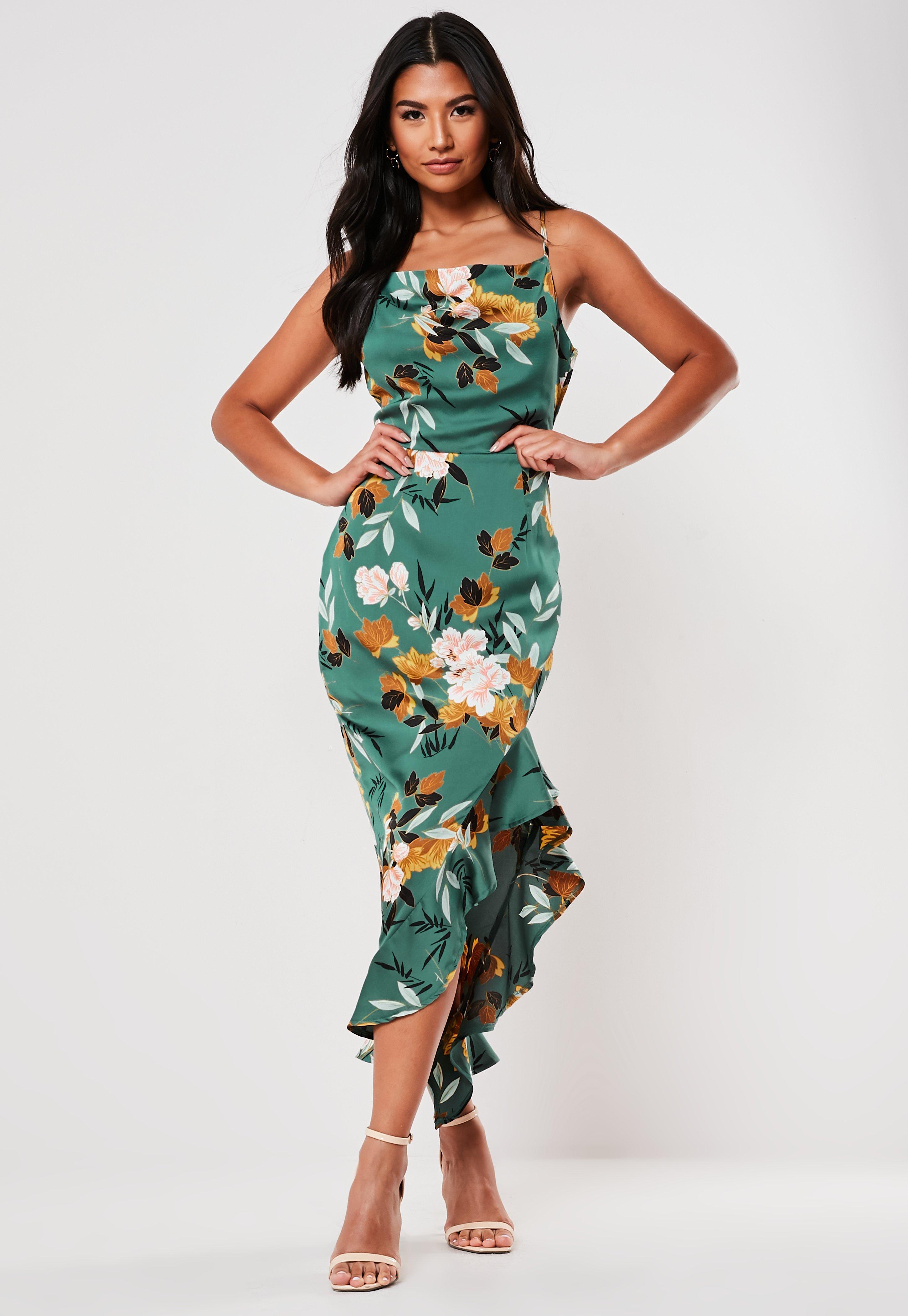 001b265aa Green Floral Print Cami Midi Dress