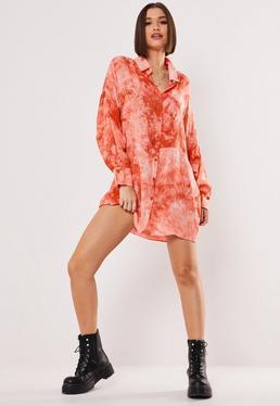 Свободное платье-рубашка Pink Tie Dye