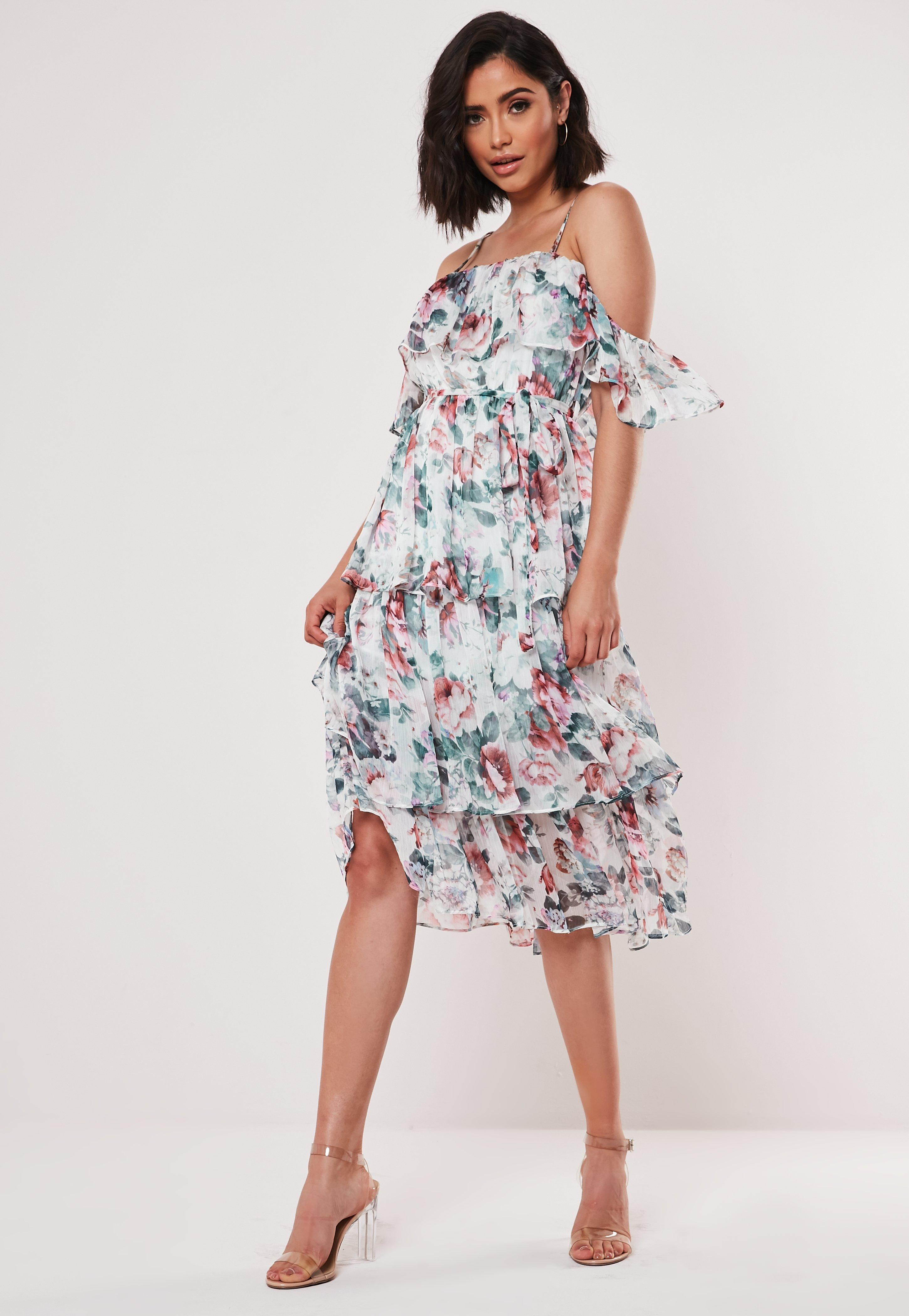 05b68a78fe4 Pink Floral Cami Tiered Midi Dress