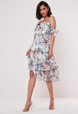 Многоуровневое платье-миди с цветочным рисунком Cami