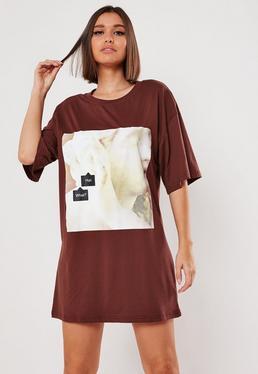 T-shirt chocolat oversize avec graphique hun what, Chocolat