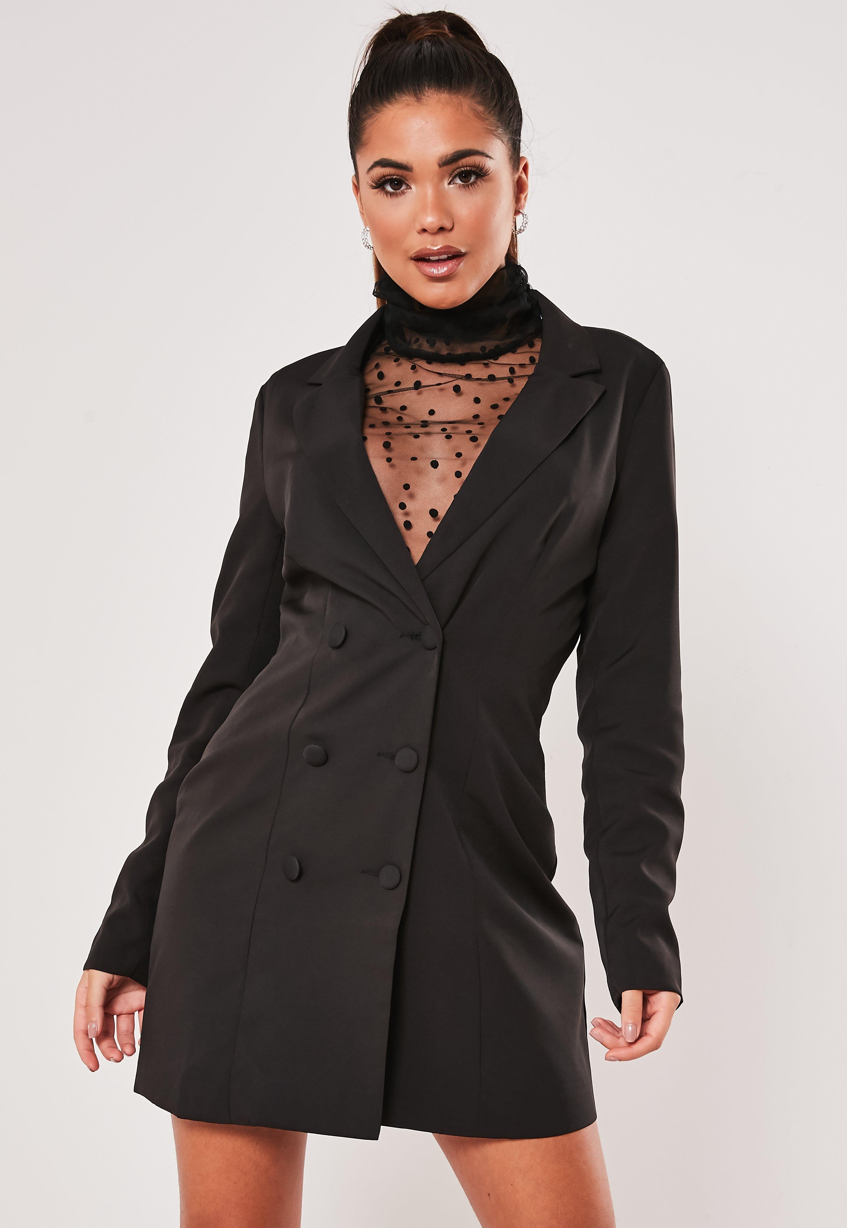 Zweireihiges Mini Blazerkleid mit Mesh Top und hohem Kragen in Schwarz