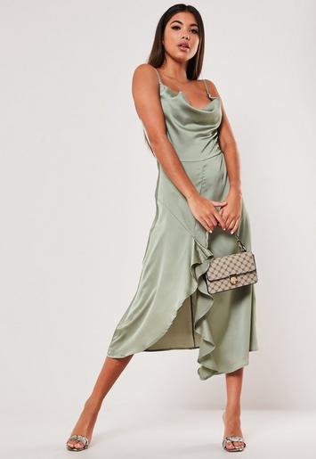 Khaki Ruffle Side Slip Dress Missguided