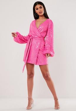 Pink Sequin Wrap Balloon Sleeve Mini Dress
