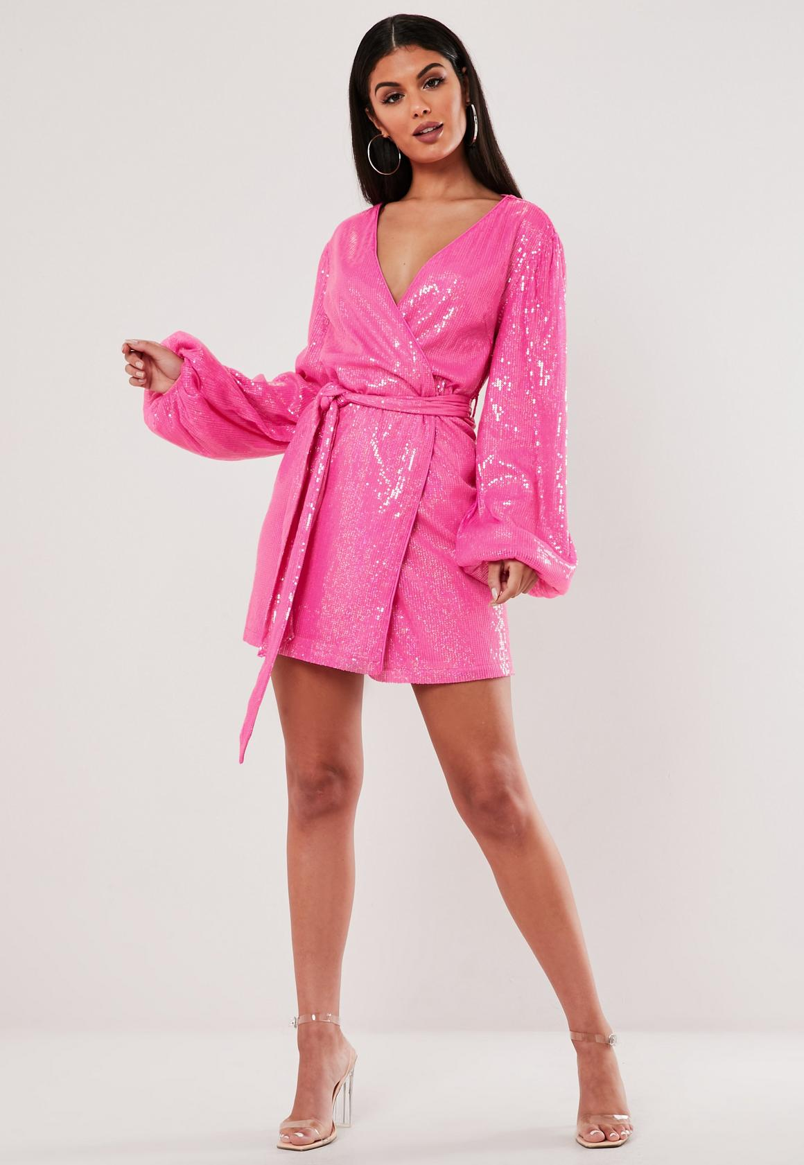 where to buy catch later Pink Sequin Wrap Balloon Sleeve Mini Dress | Missguided Ireland
