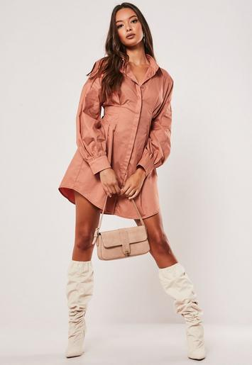 Terracotta Poplin Pleated Waist Shirt Dress by Missguided