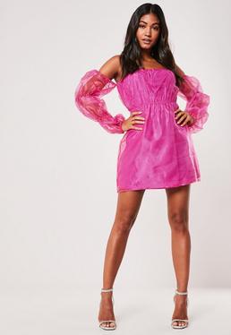 Pink Bardot Organza Mini Dress