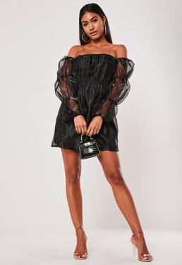 Black Bardot Organza Mini Dress