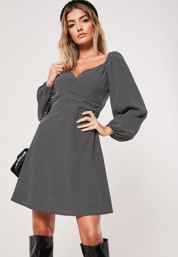 black polka dot print milkmaid wrap mini dress