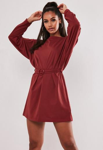 Burgundy Belted Long Sleeve T Shirt Dress by Missguided