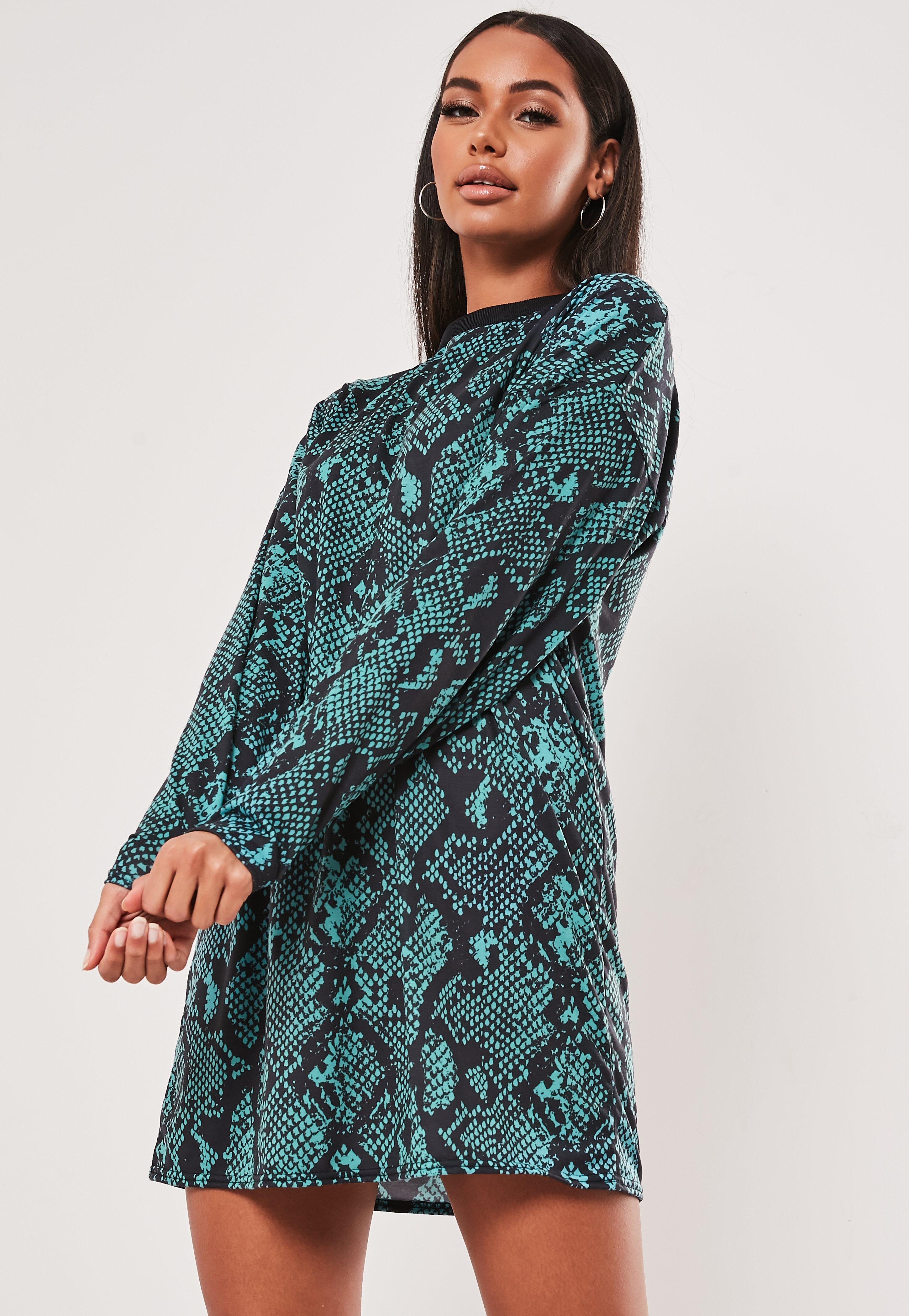 Teal Snake Print Oversized T Shirt Dress