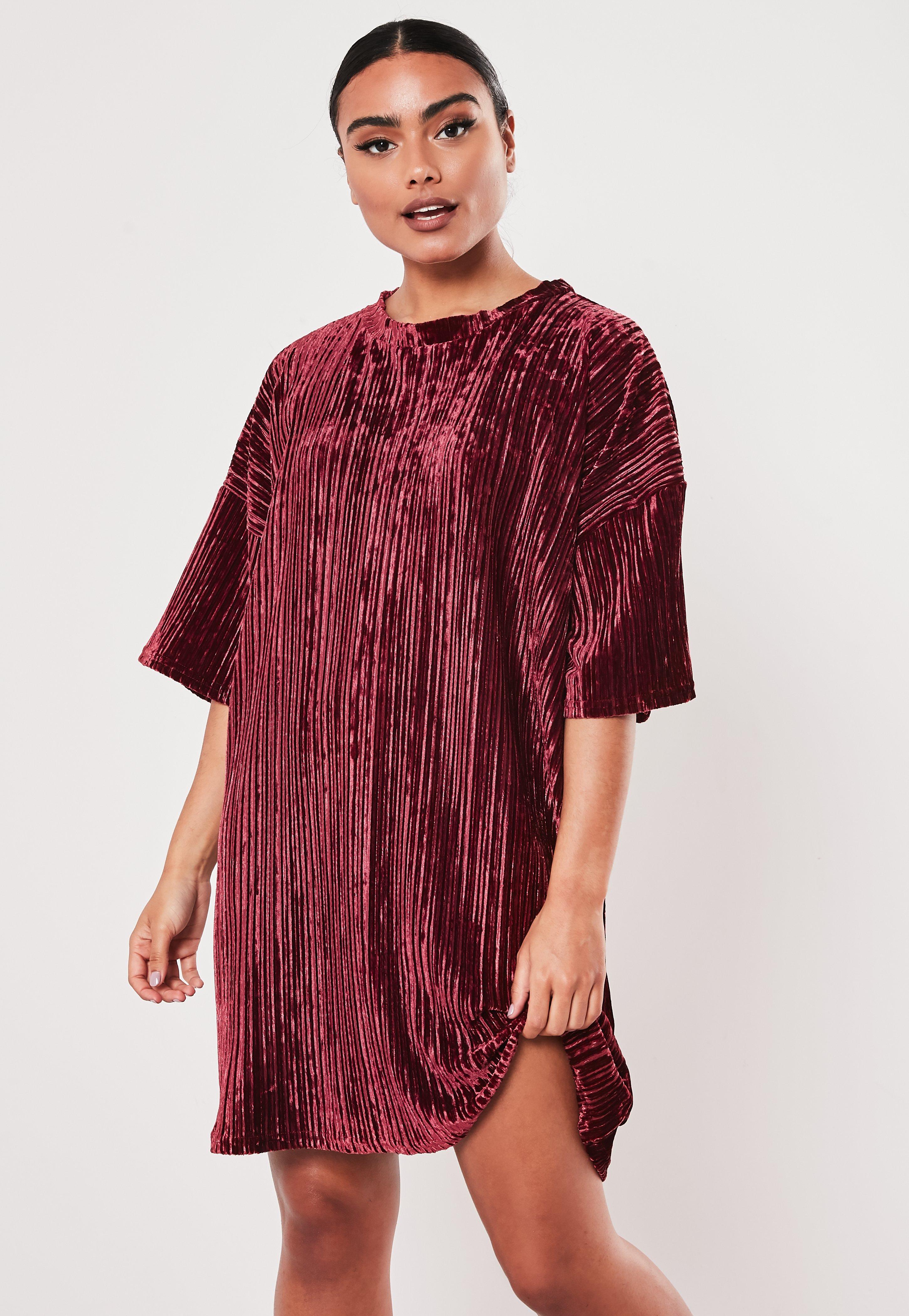 burgundy t shirt dress