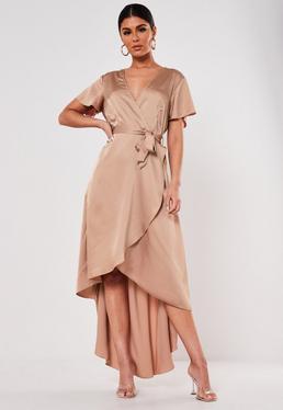 Mink Satin High Low Midi Dress