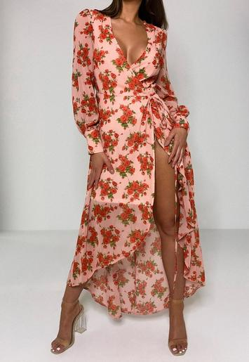 Missguided - Pink Floral Print High Low Puff Sleeve Midi Dress