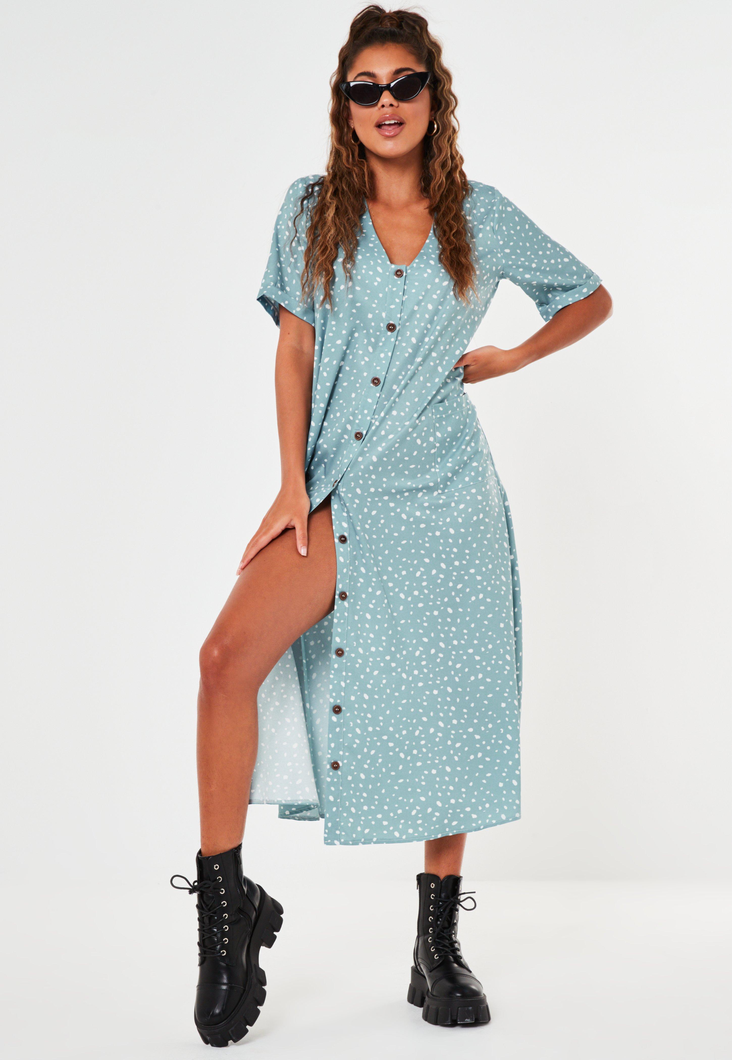discount sale outlet store sale outlet Sage Dalmatian Print Button Through Smock Midi Dress | Missguided