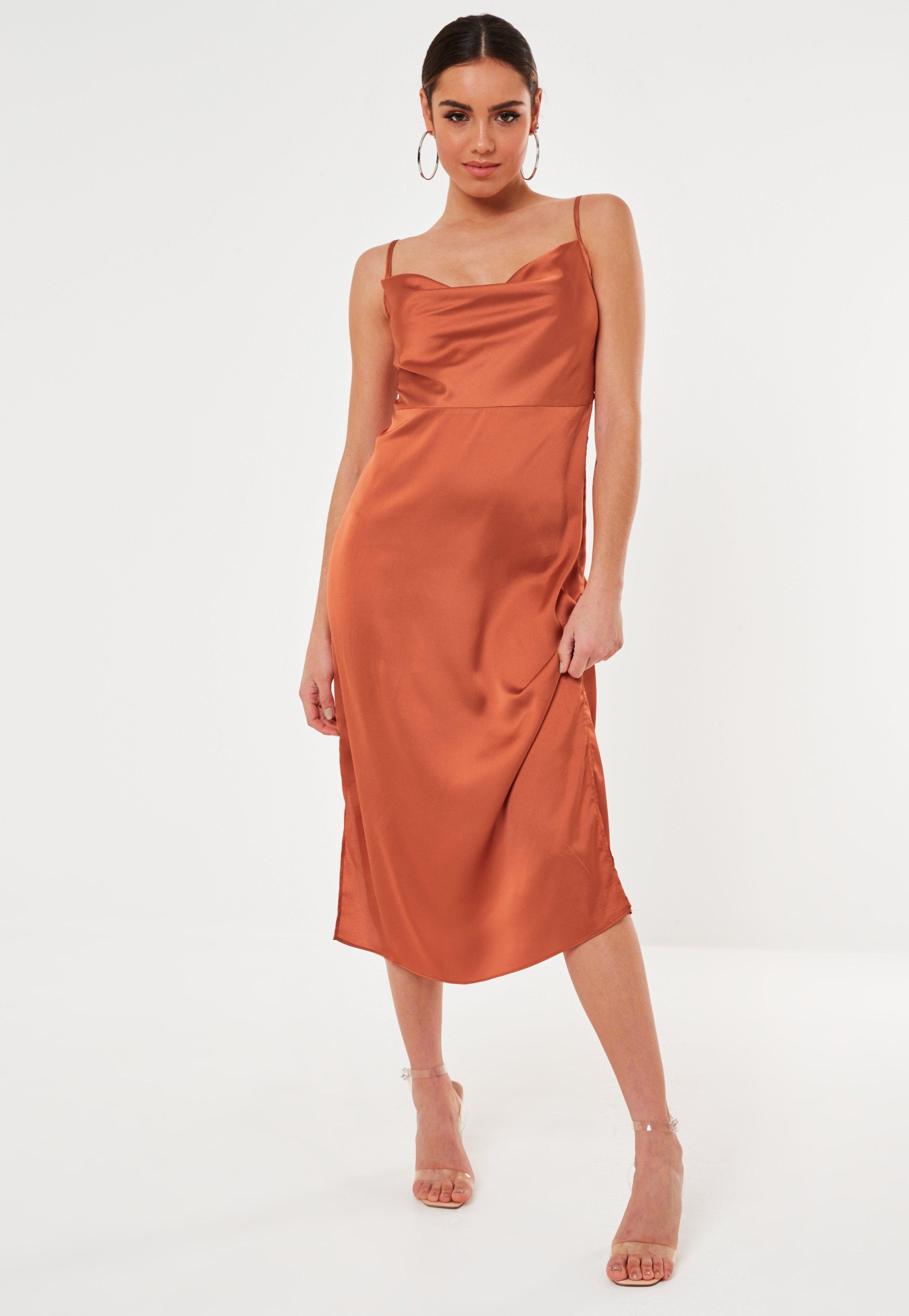 Plus Draped Neck Satin Slip Dress