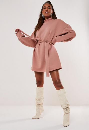 Rose High Neck Belted Sweater Dress Missguided Ireland