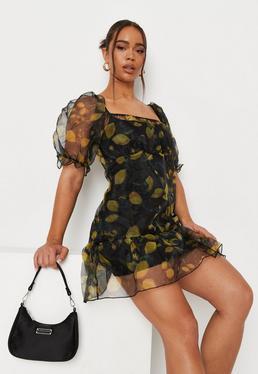Czarna podwójna sukienka z organzy w cytryny z krótkimi bufiastymi r?kawami