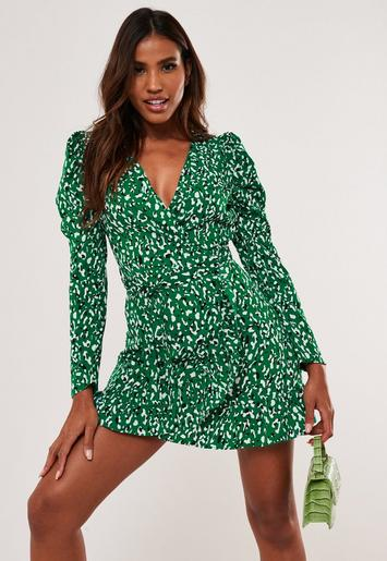 Robe Verte A Imprime Leopard A Manches Bouffantes Missguided