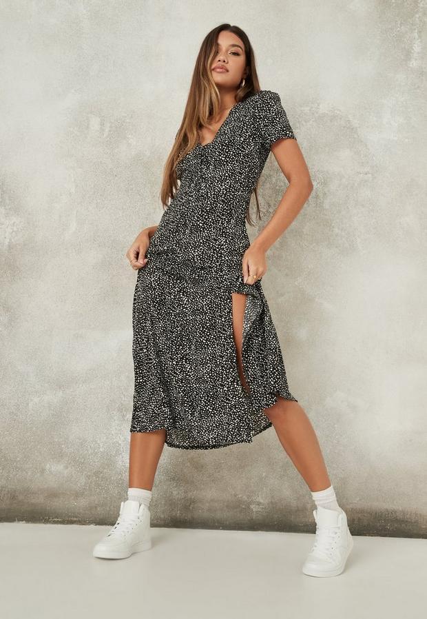 black dalmatian print half button midi tea dress