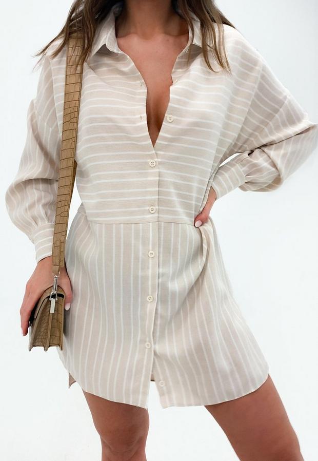 stone stripe dip back shirt dress