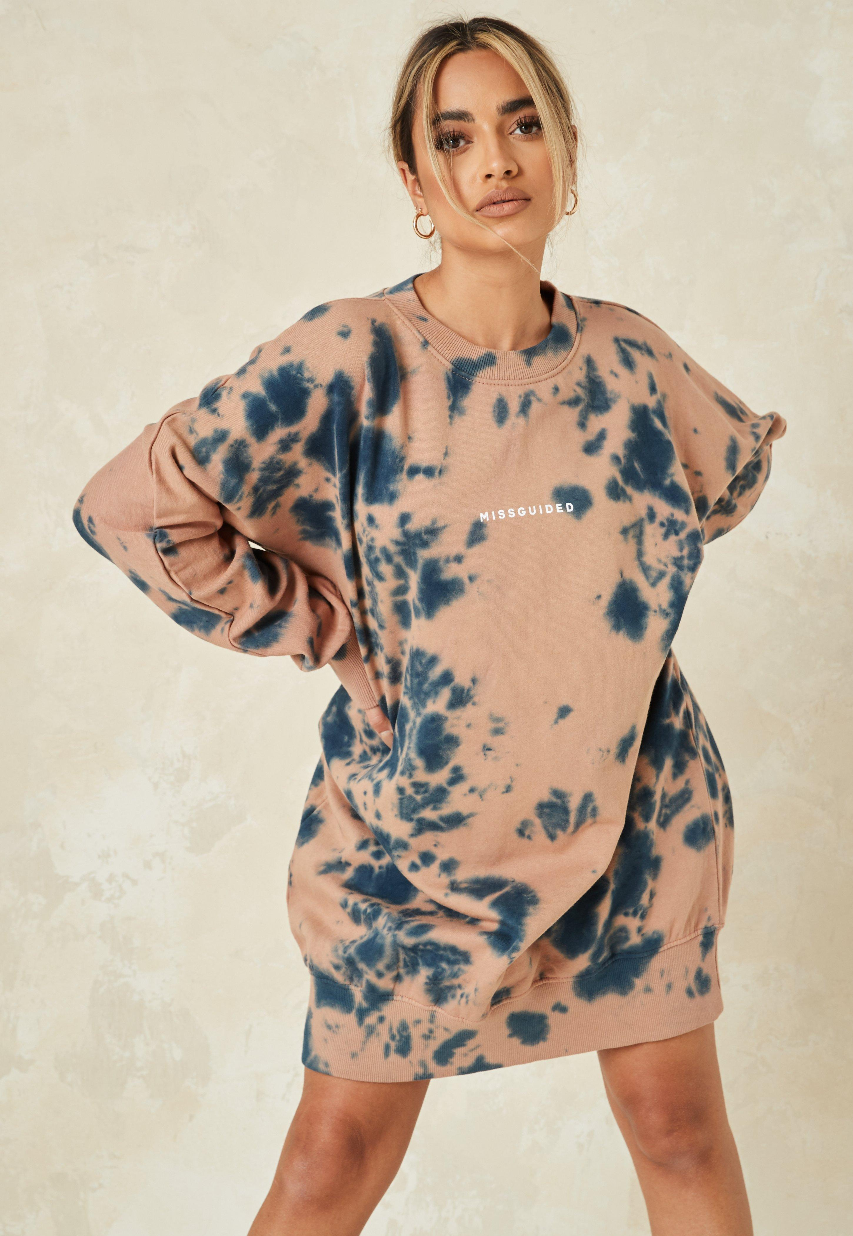 Brown Tie Dye Missguided Oversized Sweater Dress