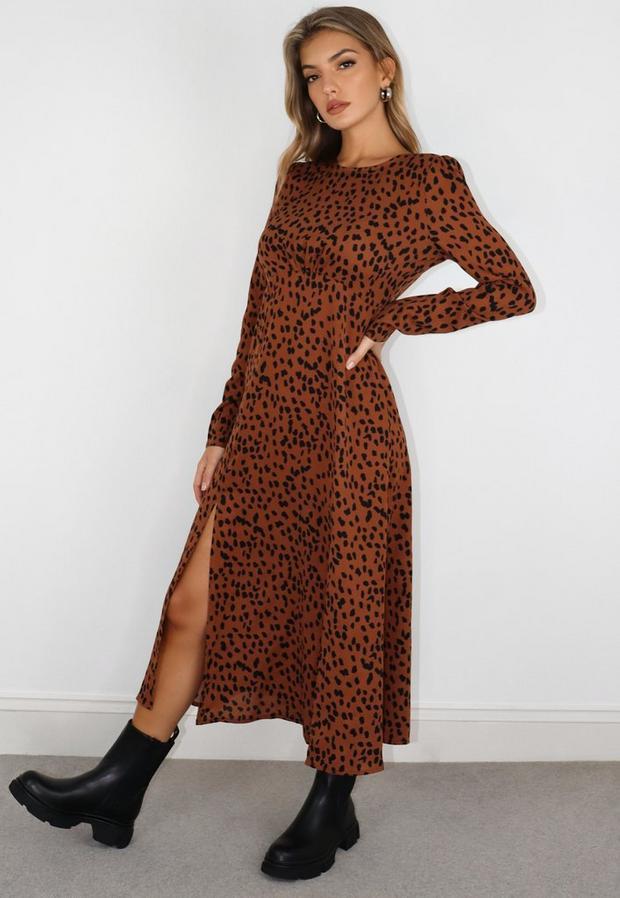 rust dalmatian print ruched bust midi dress