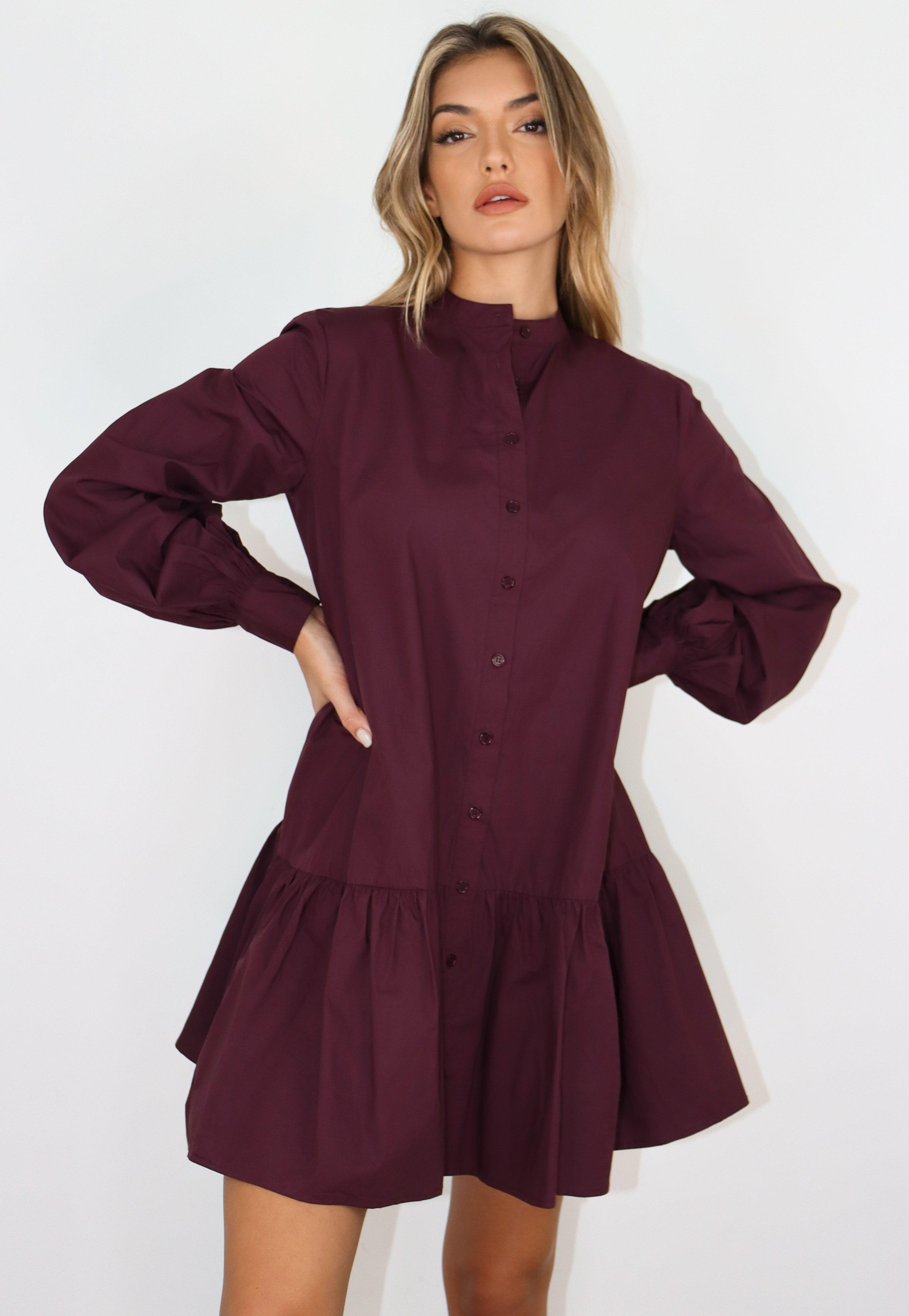 Robe Chemise Smockee Prune Oversize A Col Officier Missguided