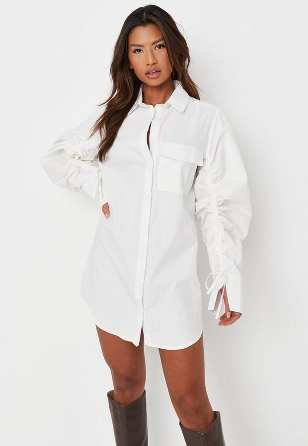 sarah ashcroft x missguided white ruched sleeve shirt dress