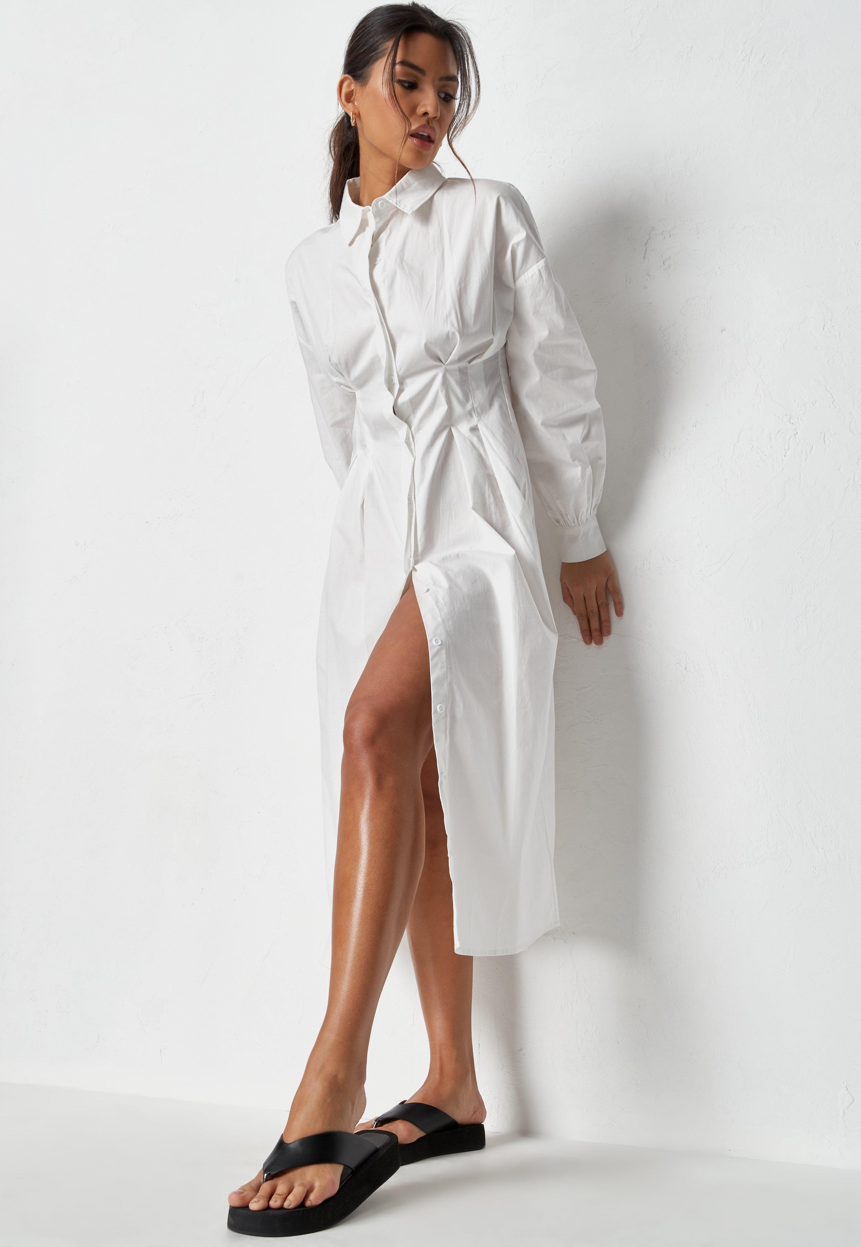 White Poplin Pleated Midi Shirt Dress   Missguided