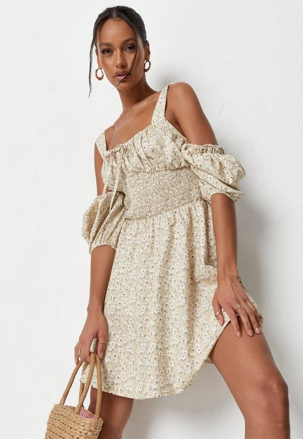 Robe Jaune Citron Style Milkmaid avec Imprimé Fleuri et Bretelles à Nouer