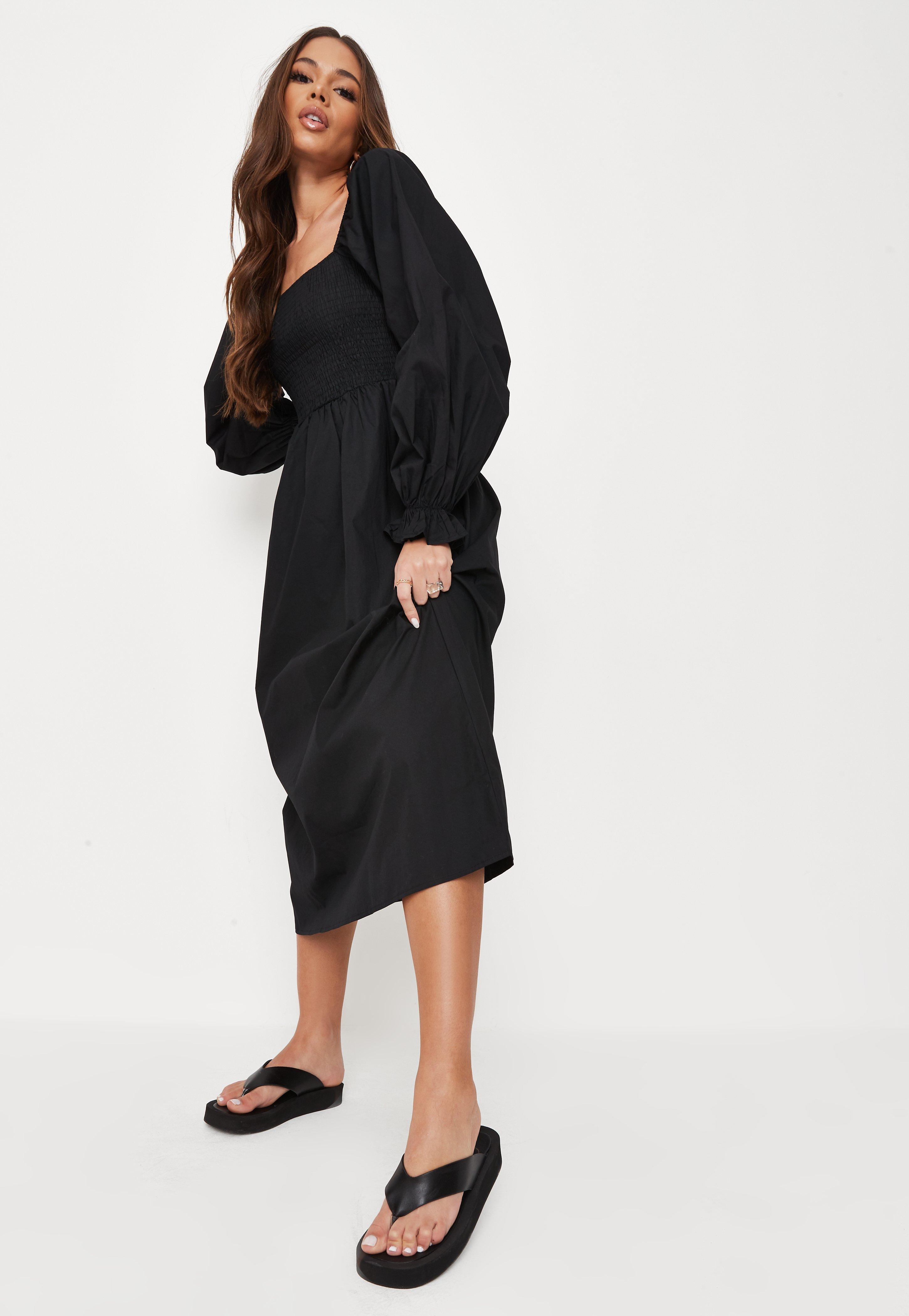Black Poplin Shirred Midi Smock Dress