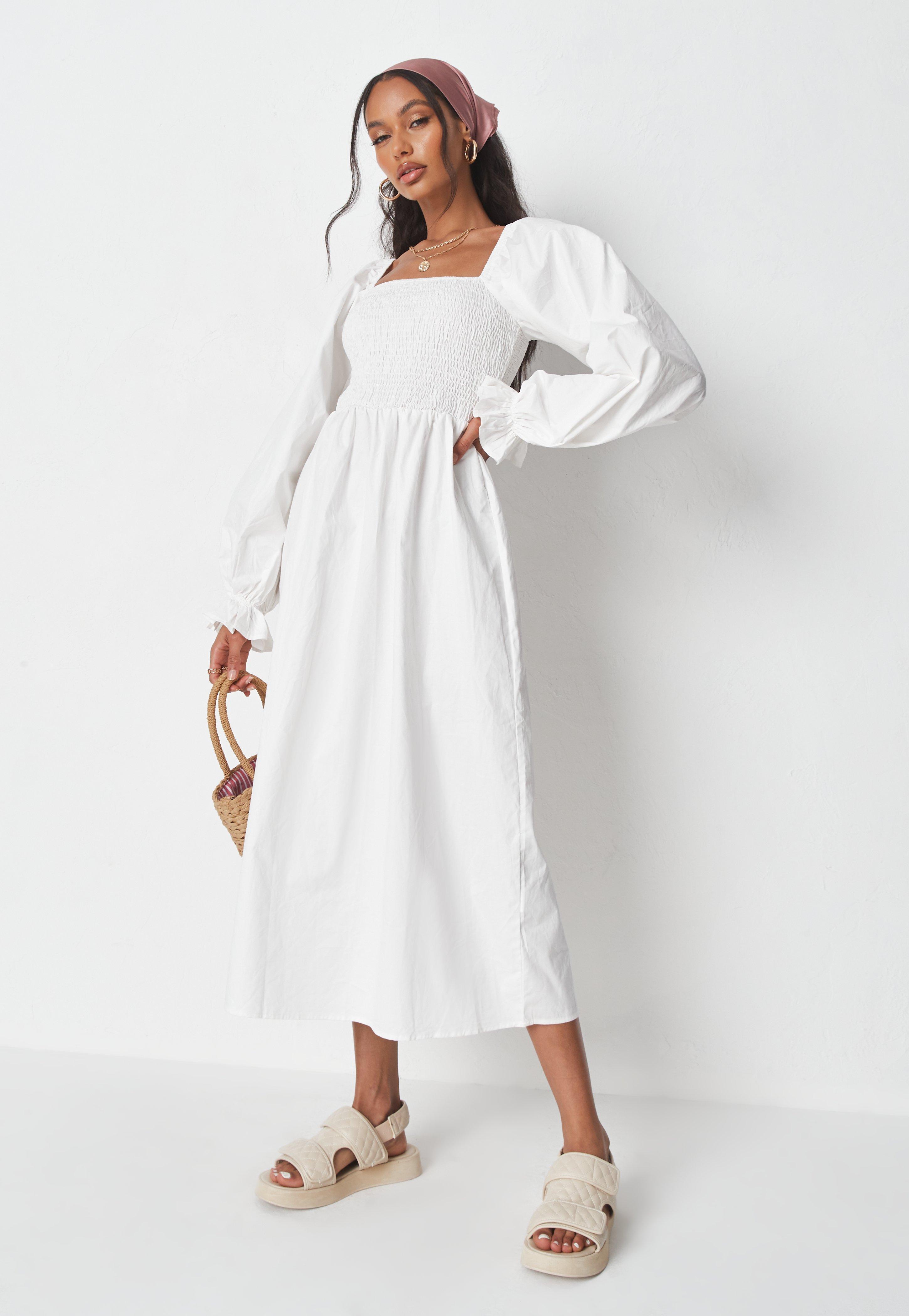 White Poplin Shirred Bust Midi Smock Dress