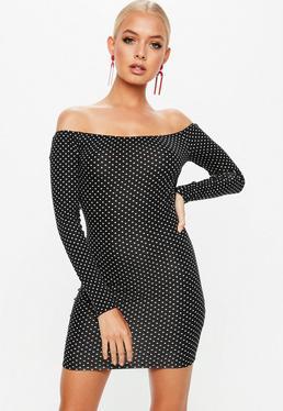 Black Polka Dot Bardot Bodycon Mini Dress