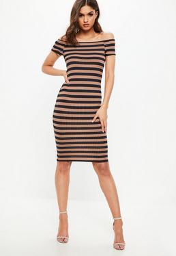Navy Ribbed Stripe Bardot Mindi Dress