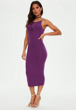 Purple Racer Neck Bodycon Midi Dress