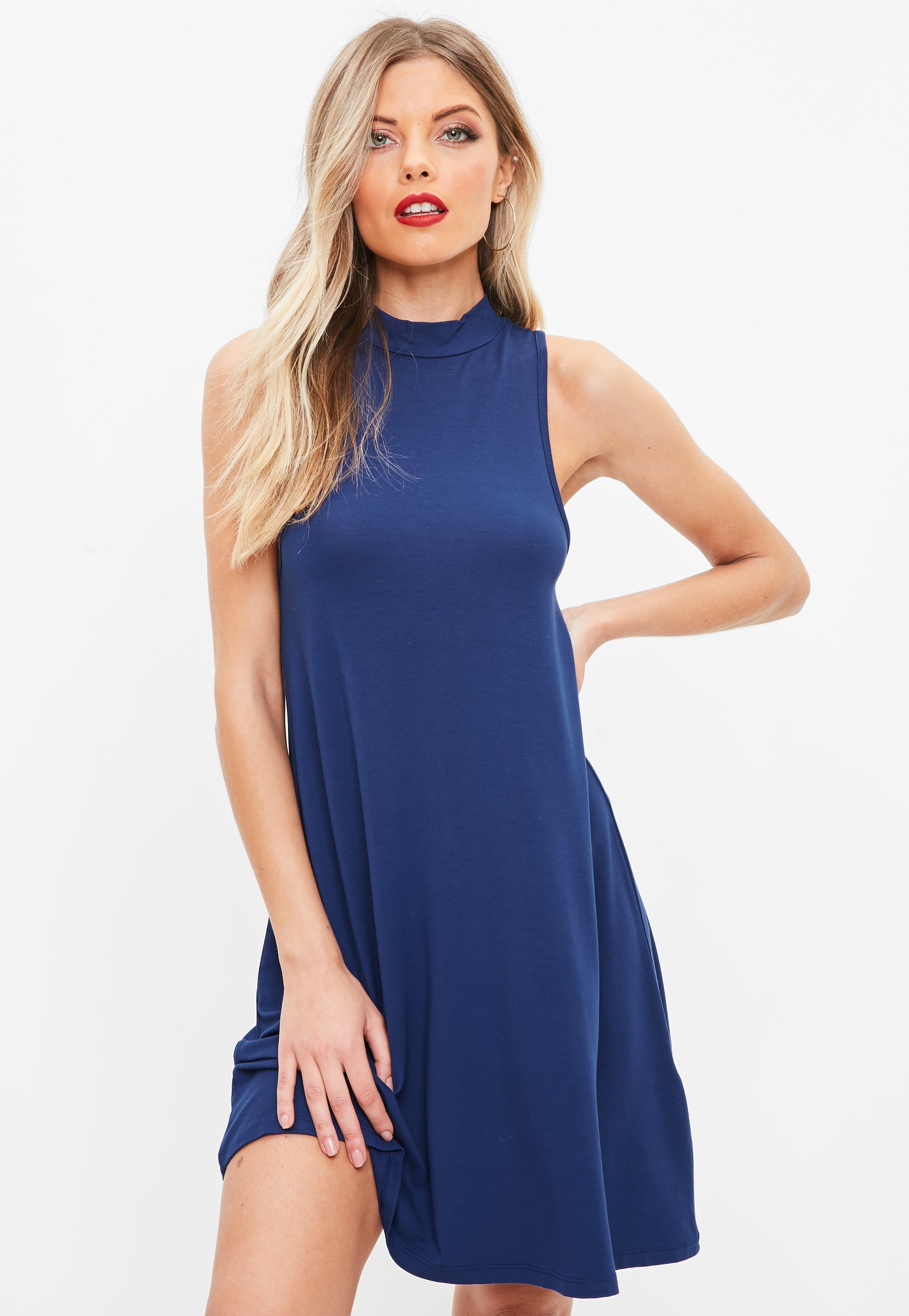 76c60e1ac179c Blue Racer Neck Sleeveless Swing Dress