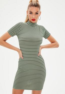 Green Ribbed High Neck Stripe Bodycon Mini Dress