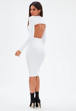 White Ribbed Round Neck Low Back Midi Dress