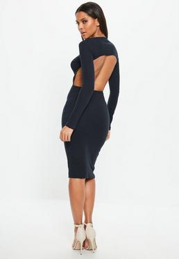 Navy Ribbed Round Neck Low Back Midi Dress